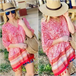 JUST BE YOU TASSEL PONCHO-CORAL